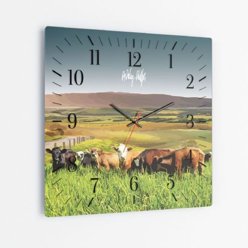 Rolling Hills With Cows Ultra Marine - Square Glass Clock